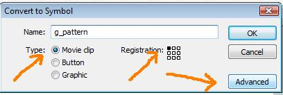 ... pattern , pilih type object Movie Clip , registration pada sudut kiri