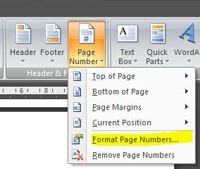 how to start page numbering on page 5 in word